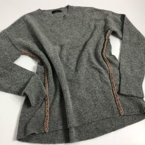 J. Crew Gray Wool Metallic Braid Sweater L